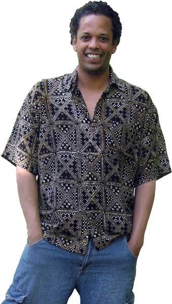 adf0674689402 Balinese Batik Shirt for Men in Black and Brown