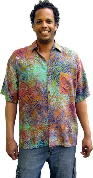 18297c18f4625 Balinese Batik Shirt for Men in Multicolor Web Motif