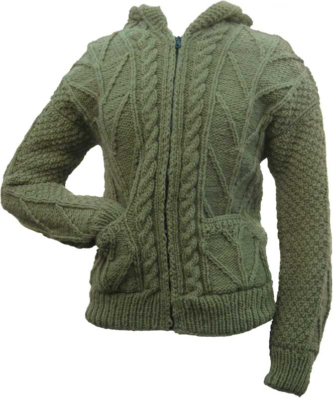 Avocado Green Cable Knit Wool Sweater With Zipper Hood Global